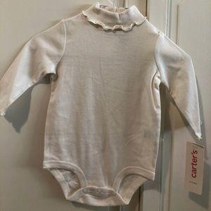 Carters White turtleneck bodysuit size 6 months
